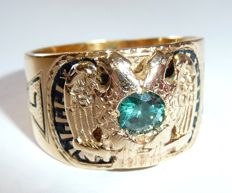 "14 kt / 585 gold Freemason's ring Masonic 32nd degree ""Master of the Royal Secret"" + blue diamond weighing 0.52 ct., circa 1940"