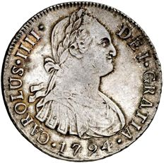 Spain – Carlos IV (1788 – 1808), 8 Reales in Silver – 1794 – Lima I.J.