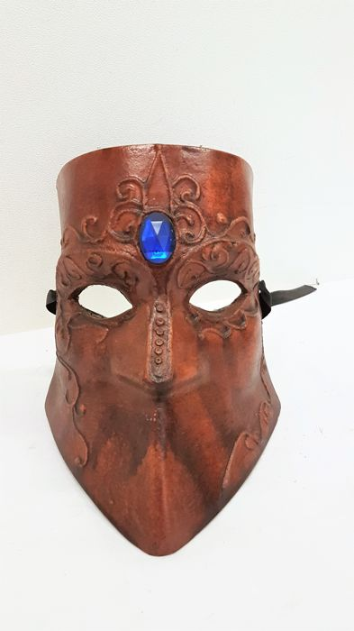 Handmade leather mask - 2nd half of the 20th century