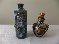 Set of two Chinese Porcelain and white metal Snuff Bottles , 20th century