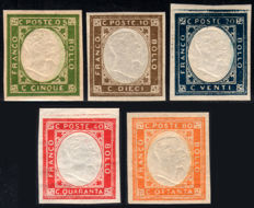 Kingdom of Italy, Naples, 1861 – Not issued – Complete series of 5 stamps
