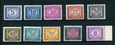Republic of Italy, 1955/81 – postage due, star watermark – Sassone  no. 111/20