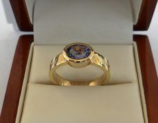 IGI Certified 1.35 ct Violet-Blue Natural Tanzanite in Ring of 14K Solid Yellow Gold