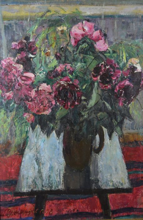 S E Rumyancev (Russian 20th century) Peonies - Still life study of flowers