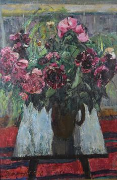 S E Rumyancev. (Russian 20th century) Peonies. Still life study of flowers.