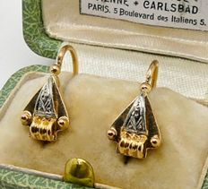 """Tank"" dormeuses earrings 18kt gold & platinum - NO RESERVE"