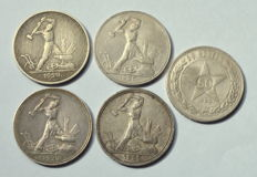 Russia - Lot of coins: 50 Kopeks 1922/1925 - silver
