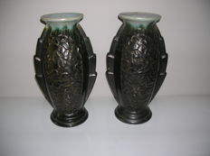 Faïenceries de Thulin - A pair of large Art Deco vases - model 531