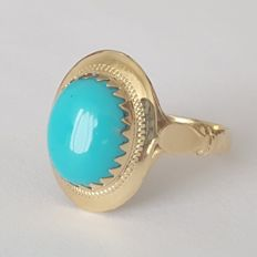 18 kt yellow gold - oval ring with a turquoise - size:.  18.4 mm, 18/58 (EU)