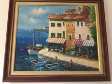 Y. DERIC (20th) , Mediterranean harbour scene
