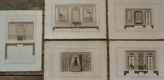 A folder with 47 (19th century reproduction) prints with interior designs by Berthault after F. Boucher - France - 1774