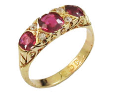 Ruby ring Vintage Milgrain