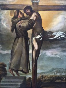 Mid 17th century - Spanish SchooI - San Francisco abrazando a Cristo en la Cruz (St Francis embracing Christ on the the cross)