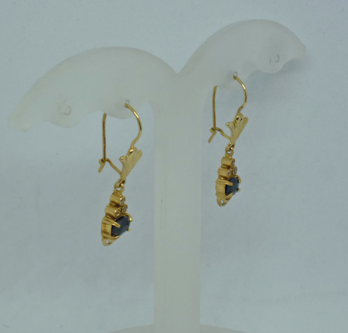 K14 yellow gold earrings with synthetic stones - 31 mm