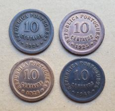 Portuguese Republic – Consignment of 4 coins – 10 Centavos 1924, 1925, 1926 and 1940