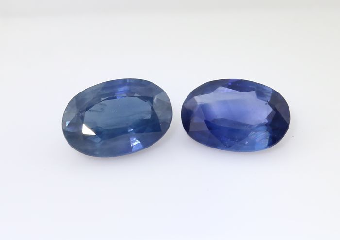 Set of 2 Sapphires -  0.46 + 0.55 = 1.01 ct total - no reserve price
