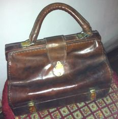 Old rare leather doctor bag suitcase, early 1900s