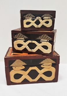 Three wooden storage boxes 'curiosities'