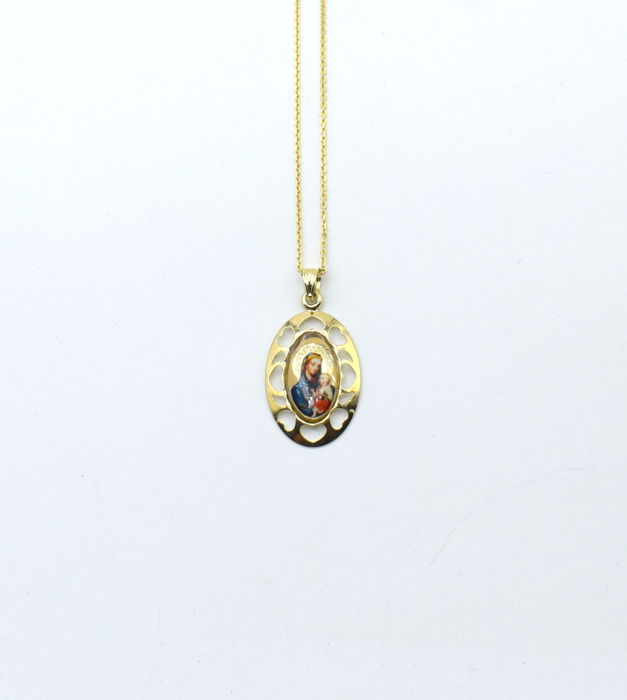 14 carat yellow gold chain with enamelled Madonna pendant  - 45 cm