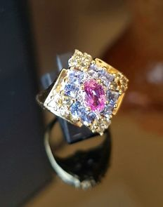 Multicolour sapphire cocktail ring