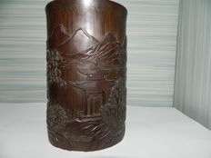 Bamboo brush holder, carving with full scenery - China - second half 20th century