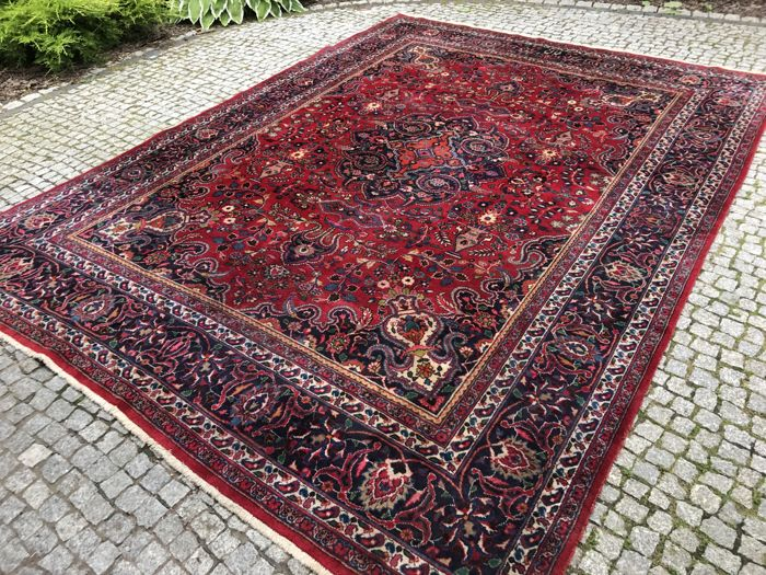 Old and Unique Persian Mesched Rug 350x260 cm -hand knotted - VERY OLD  with signature in wool