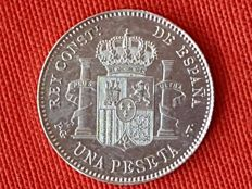 Spain – Alfonso XIII –  1 Peseta - Year 1896 *18-96 – PGV – Uncirculated – Original Shine -