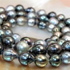 Baroque cultured Tahitian pearl chain – Ø 10 × 13.3 mm – Magnetic 925 silver clasp