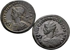 Roman Empire - lot of 2 antoninianus - Emperor Probus (276-282 A.D.) with military busts