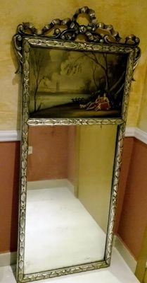 Mirror frame with French oil painting, circa 1900
