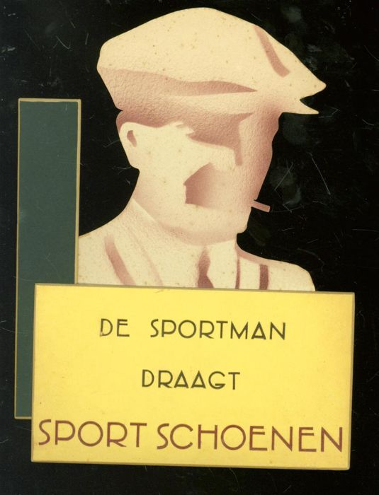 "Cardboard handmade shop advertising for the stores of ""Van Woensel Schoenen. - De Sportman draagt sportschoenen - from the 50s"