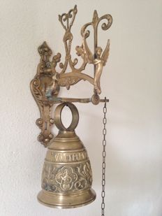"Large Church/Monastery bell with bracket ""OVIME-TANGIT VOCEM-MEAM-A-""-mid 20th century."