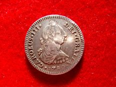 Spain – Carlos III (1759–1789) – 1 silver real coin –  Mexico, 1780