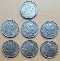 Portuguese Republic – 7 coin lot – 1 Escudo 1959, 1961, 1962, 1964, 1965, 1966 & 1968 . Superior condition