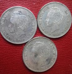 Spain - Lot of 3 coins - 5 Pesetas - Alfonso XIII – 1892, 1893, 1894