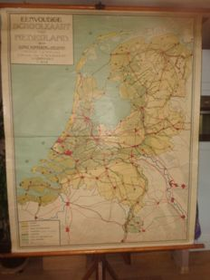 Old simple school map of The Netherlands, second edition.