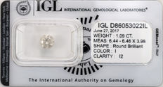 1.09 ct brilliant cut diamond  I  I2