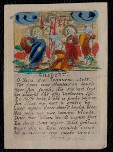 2 finely cut hand coloured paper prayer cards - 17th century - Antwerp - Isabella Hertsens & A.J. Heijdreix
