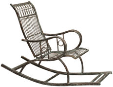 Unknown designer - Rocking armchair in wrought iron, with an antique rust finish.