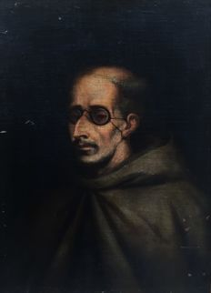 Spanish School (mid 17th century) - Retrato de fraile con anteojos (Portrait of a friar with spectacles)