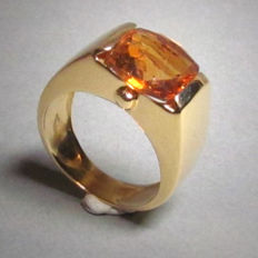 Ring in 18 kt yellow gold with citrine - size 51 mint condition