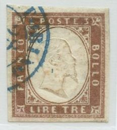 Sardinia - 1861 - 3 lire, copper, 18A, cancelled with a round light blue stamp of the city of Turin