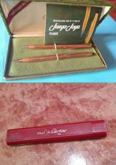 "Must de Cartier set of ""Gold plated jewel Super T"" & cartridge with 4 refills."