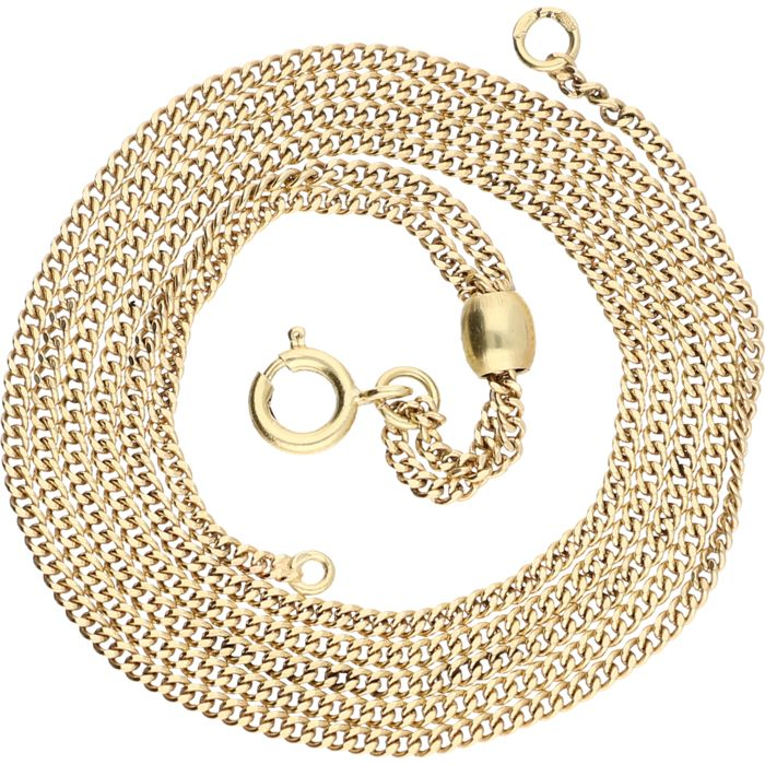 Adjustable 14 kt yellow gold curb link necklace – length: 60.1