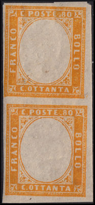 Sardinia, 1858–1862 – 80 Cent, orange, without imprinted effigy, block of 2 – Bolaffi 14B