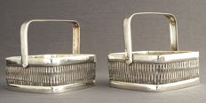 Two braided silver handle baskets, Germany, 20th century