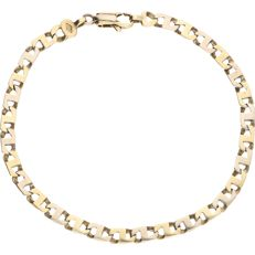 14 kt – Bi-colour link bracelet fitted with alternating white gold links and yellow gold links – Length: 21.3 cm