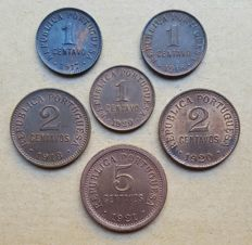 "Portuguese Republic – 6 coin lot – 1 Centavo 1917, 1918, 1920 ""P"" Aberto, 2 Centavos 1918, 1920 & 5 Centavos 1921 . Superior condition"