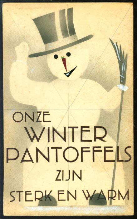 "Cardboard handmade shop advertising for the stores of ""Van Woensel Schoenen. - Onze winterpantoffels zijn sterk en warm - from the 50s"