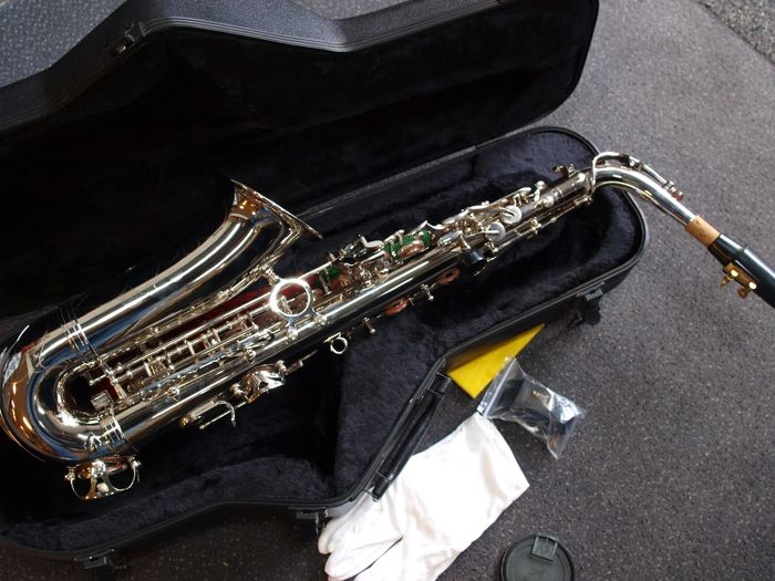 New ChS Eb silver-plated alto saxophone with hard case